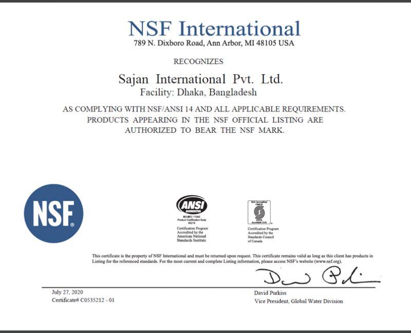 NSF Certificate International